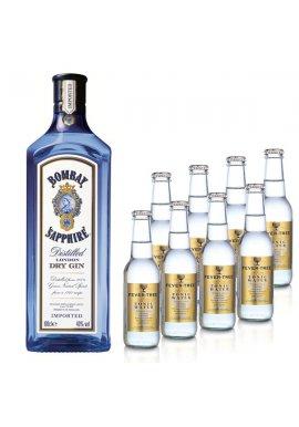 Bombay Gin Tonic Paket - 1 x Bombay 1 Liter 8 x Fever Tonic